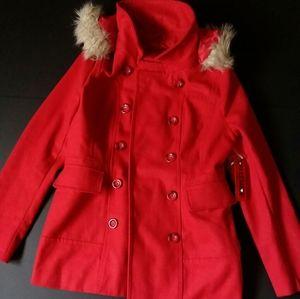 Coffee Shop Women's Faux Fur Hood Peacoat Jacket